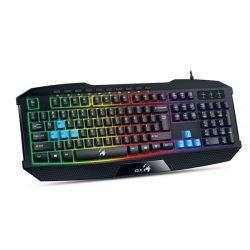 Genius Billentyűzet - Scorpion K215 (Vezetékes, USB, RGB, multimédiás, fekete)