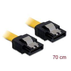 Delock Kábel - 82481 (SATA II, egyenes/egyenes csatl.(fémlappal), Max.: 3Gb/s, sárga, 0,7m)